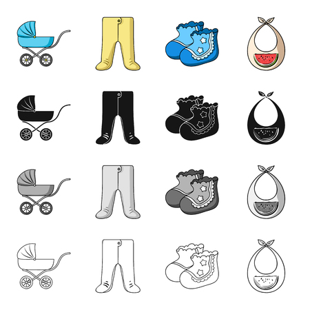 Baby carriage, pantyhose, childrens booties, breast bib. Baby care set collection icons in cartoon black monochrome outline style vector symbol stock illustration .