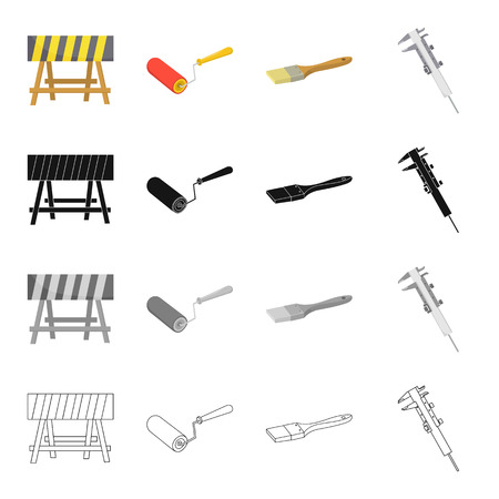 house logo: Fencing at the construction site, repair roller, paintbrush, calipers. Construction and repair set collection icons in cartoon black monochrome outline style vector symbol stock illustration .