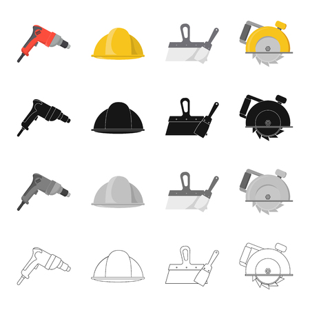 house logo: Electric drill, construction helmet, spatula for repair, manual circular. Construction and repair set collection icons in cartoon black monochrome outline style vector symbol stock illustration . Illustration