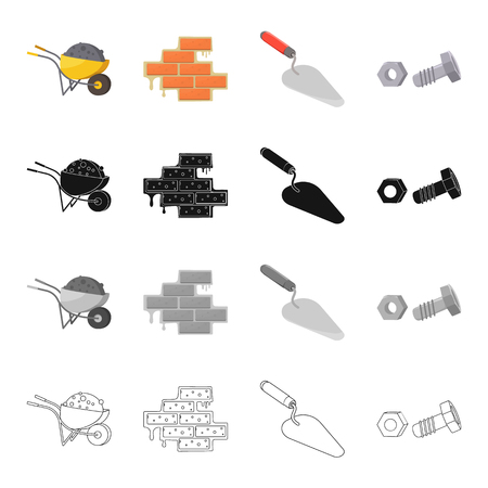 Construction wheelbarrow, brickwork, trowel, bolt with nut. Construction and repair set collection icons in cartoon black monochrome outline style vector symbol stock illustration . Illustration