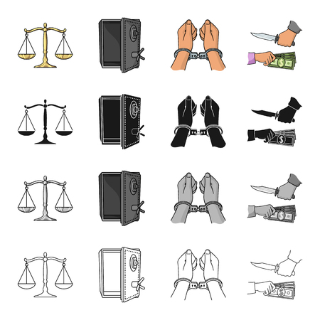 Scales of justice, a safe hacked, a criminal in handcuffs, a robbery. Crime set collection icons in cartoon black monochrome outline style vector symbol stock illustration .