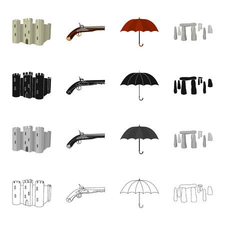 cartoon umbrella: Castle Tower, antique pistol, umbrella, English Stone Hend.England set collection icons in cartoon black monochrome outline style vector symbol stock illustration . Illustration