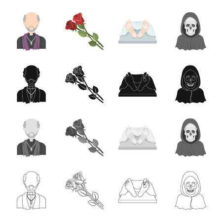 A priest, flowers for a funeral, a deceased person, an image of death. Funeral ceremony set collection icons in cartoon black monochrome outline style vector symbol stock illustration .