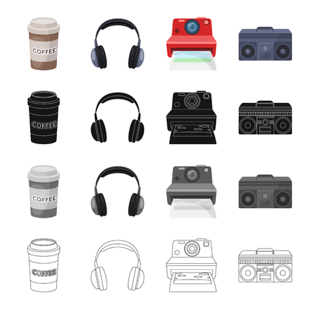 A glass of coffee, an earphone, a camera a music center. Hipster style set collection icons in cartoon black monochrome outline style vector symbol stock illustration .