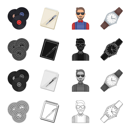 Vinyl disc, notebook with pen, hipster, retro wrist watch. Hipster style set collection icons in cartoon black monochrome outline style vector symbol stock illustration .