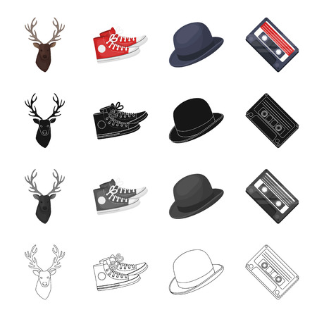Reindeer antlers, gumshoes, hat, audio cassette. Hipster style set collection icons in cartoon black monochrome outline style vector symbol stock illustration . Illustration