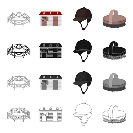 aviary: Horse race, stables, jockey rider, brush. Hippodrome and horse racing set collection icons in cartoon black monochrome outline style vector symbol stock illustration .