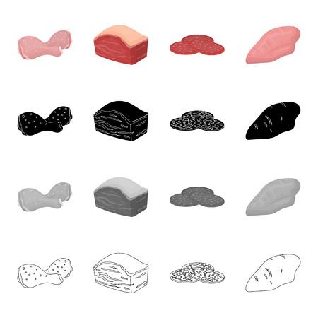 Kippendij, varkensfilet, borst, een stuk worst. Zet vastgestelde inzamelingspictogrammen in beeldverhaal zwarte zwart-wit overzichtsstijl de vectorillustratie van de symboolvoorraad.