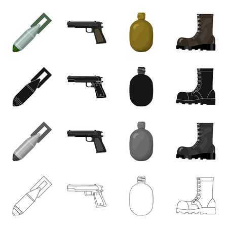 cartoon bomb: An air bomb, a pistol, a soldiers flask, an army boot. The military and the army set collection icons in cartoon black monochrome outline style vector symbol stock illustration .