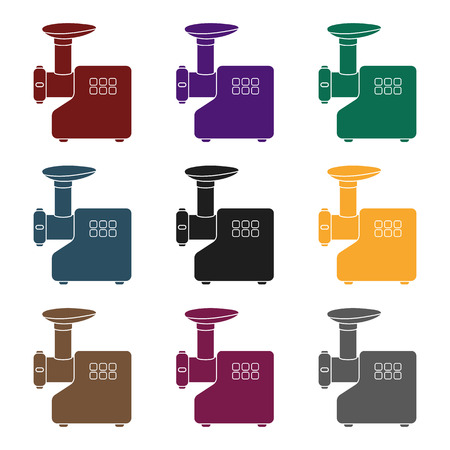 Electical meat grinder icon in black style isolated on white background. Household appliance symbol vector illustration.