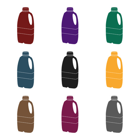 Gallon plastic milk bottle icon in black style isolated on white background. Milk product and sweet symbol stock vector illustration.