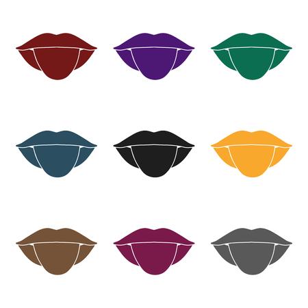 白い背景に分離された黒のスタイルで舌アイコン。体記号株式ベクトル図の一部です。 写真素材 - 86179754