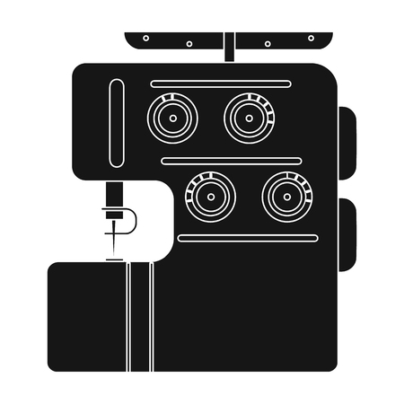 Electric sewing machine, overlock. Sewing and equipment single icon in black style vector symbol stock illustration web.