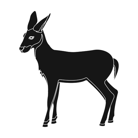 A young, wild antelope. A wild-footed animal of an antelope single icon in black style vector symbol stock illustration web. Illustration