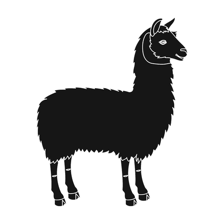 Lama, a South American pack animal. A lame, a cloven-hoofed mammal single icon in black style vector symbol stock illustration web.