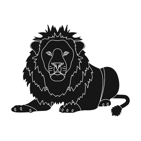 A lion, a wild and ferocious predator. Leo, the king of beasts single icon in black style vector symbol stock illustration web.