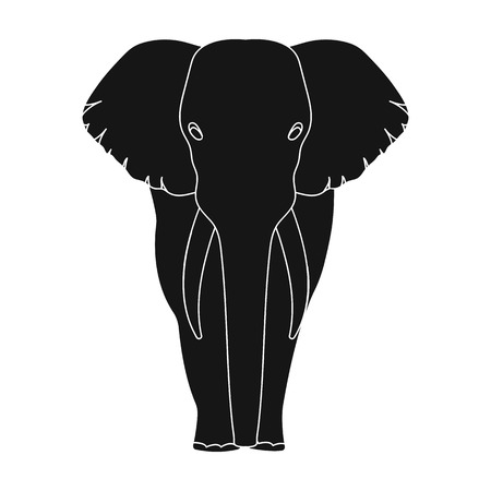 The elephant, the biggest wild animal. African elephant with tusks single icon in black style vector symbol stock illustration web.