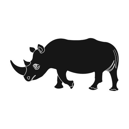 大規模なインドのサイ。野生動物のサイ単一黒スタイル ベクトル シンボル ストック イラスト web のアイコン。