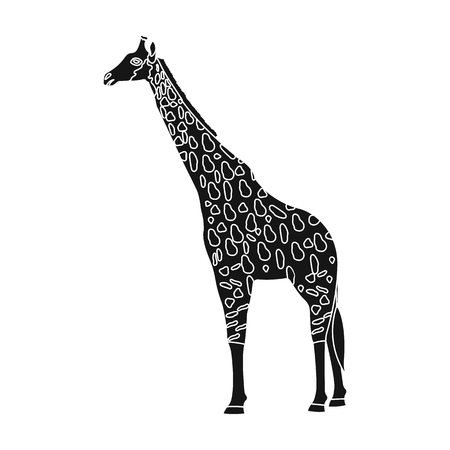 camelopard: Giraffe is the highest land animal. A wild animal, a giraffe single icon in black style vector symbol stock illustration web. Illustration