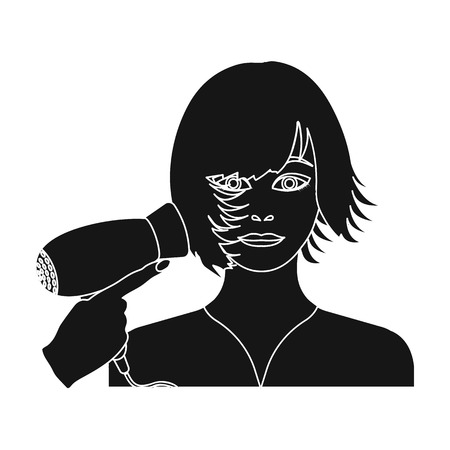 brown haired girl: Hairstyle single icon in black style.Hairstyle, vector symbol stock illustration web.