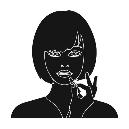 salon: Girl, single icon in black style.Girl vector symbol stock illustration web.