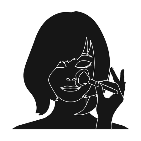 brown haired girl: Hairstyle single icon in black style.Hairstyle vector symbol stock illustration web.