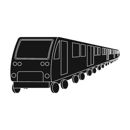 電車、単一黒のスタイルのアイコンです。鉄道、ベクター シンボル ストック イラスト web。