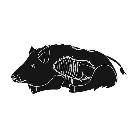 Boar single icon in black style.Boar, vector symbol stock illustration web.