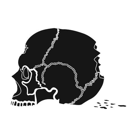 Skull single icon in black style.Skull, vector symbol stock illustration web.