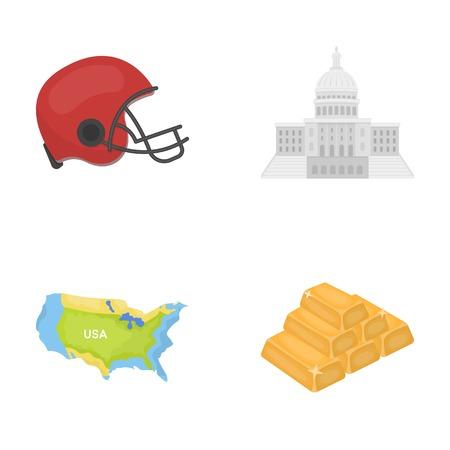 フットボール選手のヘルメット、議会議事堂、区域の地図、金、外国為替。アメリカ合衆国の国は、漫画スタイルのベクトル シンボル ストック イ