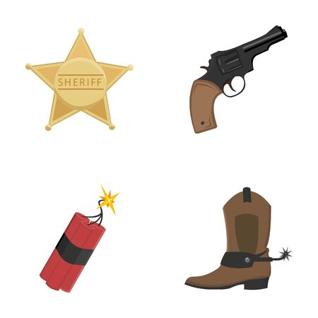 Star sheriff, Colt, dynamite, cowboy boot. Wild West set collection icons in cartoon style vector symbol stock illustration . Çizim