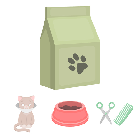 A bowl with food, a haircut for a cat, a sick cat, a package of feeds.?at set collection icons in cartoon style vector symbol stock illustration . Ilustração Vetorial