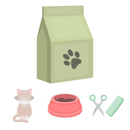 Una ciotola con alimento, un taglio di capelli per un gatto, un gatto malato, un pacchetto di alimenti insieme icone stabilite della raccolta nell'illustrazione delle azione di simbolo di vettore di stile del fumetto. Vettoriali