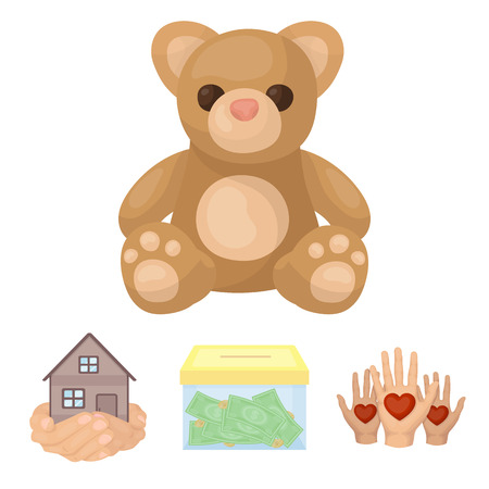 Boxing glass with donations, hands with hearts, house in hands, teddy bear for charity. Charity and donation set collection icons in cartoon style vector symbol stock illustration . Illustration