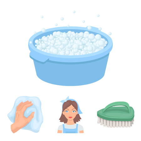 A cleaning woman, a housewife in an apron, a green brush, a hand with a rag, a blue wash hand basin with foam. Cleaning set collection icons in cartoon style vector symbol stock illustration .