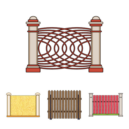 A fence of metal and bricks,wooden palisade. A different fence set collection icons in cartoon style vector symbol stock illustration .