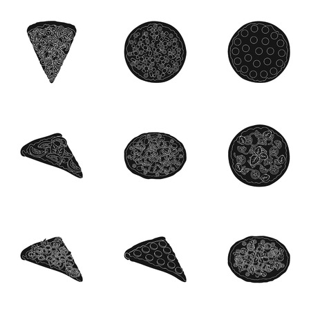 Pizza,slice with meat, cheese and other filling. Different pizza set collection icons in black style vector symbol stock illustration .