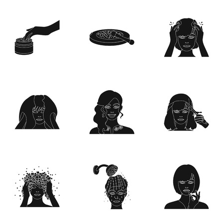 black haired: Cosmetic, salon, bathroom, and other  icon in black style.Foam, shampoo, hairdresser icons in set collection. Illustration