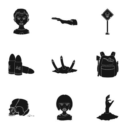 Ground, Zombie, corpse and other  icon in black style. Fool, hand, flesh, icons in set collection.