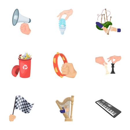 Musical instrument, garbage and ecology, electric appliance and other  icon in cartoon style. Megaphone, finishing checkered flag, gesture and manipulation with hands icons in set collection. Illustration