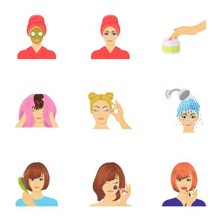 brown haired girl: Cosmetic, salon, bathroom, and other  icon in cartoon style.Foam, shampoo, hairdresser icons in set collection. Illustration