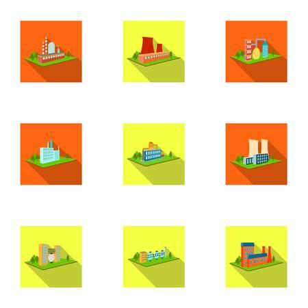 Verwerking fabriek, metallurgische installaties en andere productie. Fabriek en de industrie set collectie iconen in vlakke stijl isometrische vector symbool stock illustratie