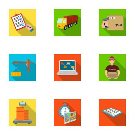 Forklift, cargo plane, goods, documents and other items in the delivery and transportation. Logistics and delivery set collection icons in flat style isometric vector symbol stock illustration . Illustration