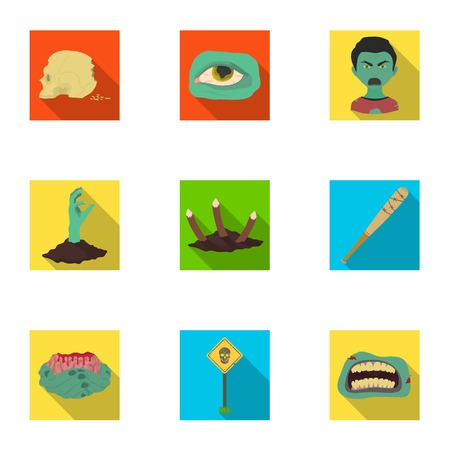 Ground, Zombie, corpse and other  icon in flat style. Fool, hand, flesh, icons in set collection.