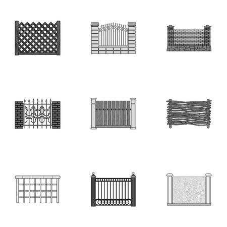 A fence of metal and bricks,wooden palisade and other varieties. A different fence set collection icons in monochrome style vector symbol stock illustration .