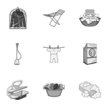 Lavadora, polvo, hierro y otros equipos. Iconos de la colección del conjunto de la limpieza en seco en la ilustración común del símbolo del vector del estilo monocromático. Ilustración de vector