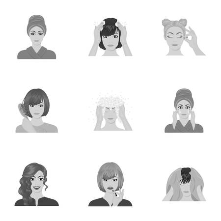 brown haired girl: Cosmetic, salon, bathroom, and other  icon in monochrome style.Foam, shampoo, hairdresser icons in set collection. Illustration