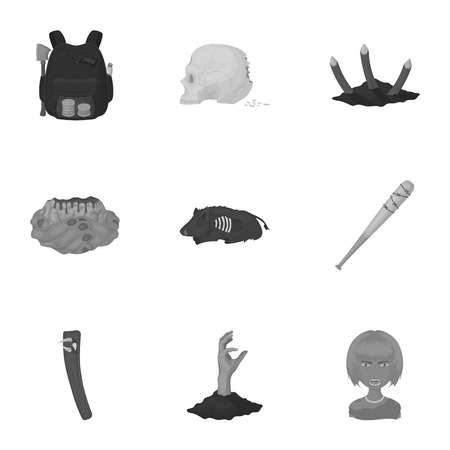 Ground, Zombie, corpse and other  icon in monochrome style. Fool, hand, flesh, icons in set collection.