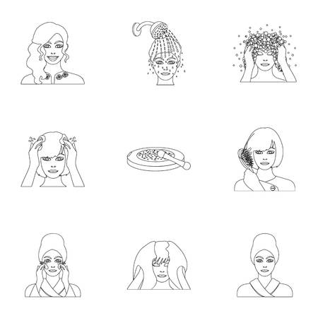 brown haired girl: Cosmetic, salon, bathroom, and other  icon in outline style.Foam, shampoo, hairdresser icons in set collection. Illustration