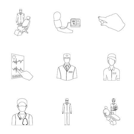 Injured in a stroller, blood transfusion, blood sugar test, doctor, medical staff. Medicine set collection icons in outline style vector symbol stock illustration . Illustration